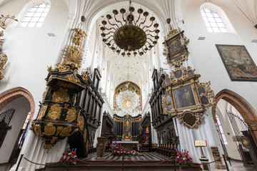 Beautiful interior and altar at the empty Oliwa Archcathedral in Gdansk, Poland.