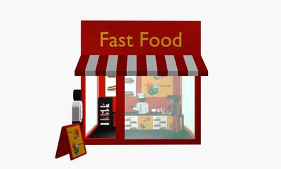 Fast Food Imbiss mit Figuren. Ansicht von vorne.