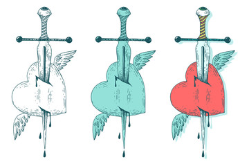 Vector sword and heart. Vintage style hand drawn illustration set