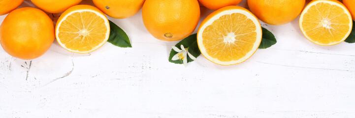 Orangen Orange Früchte Textfreiraum Banner von oben