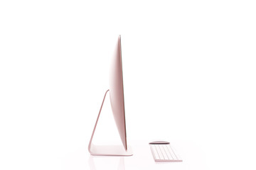 Keyboard and computer screen on a white table with reflection on white background