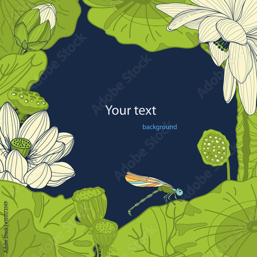 Design Template Of Lotus And Dragonfly Floral Background Stock