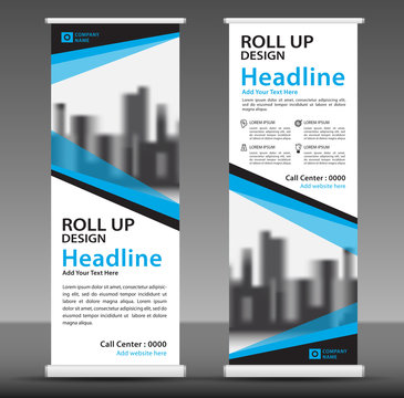 Blue roll up banner template. Business banner layout. stand out. flyer. pull up. presentation. brochure. poster. advertisement. print media