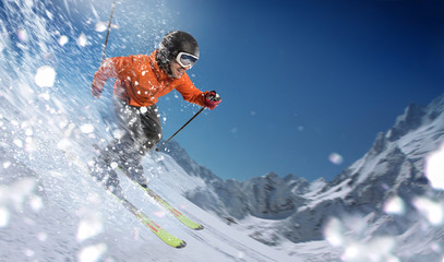Acrylic Prints Winter sports Winter Sport. Skier in mountains.