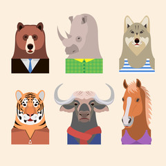 Animals wearing a different dress code, as well as casual wear. Animals: bear, rhino, wolf, tiger, buffalo, horse. Isolated on white background. Design vector illustration.