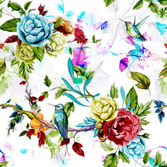Humming bird,wild roses, peony, cornflower with leaves on white.Abstract. Watercolor. Seamless background pattern. Vector - stock.