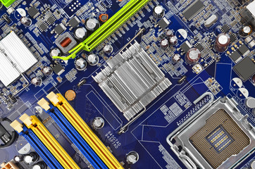 Blue computer motherboard