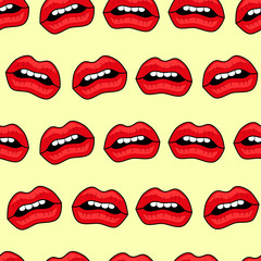 Abstract seamless lips pattern for girls or boys. Creative vector background with red lips, mouth. Funny wallpaper for textile and fabric. Fashion mouth pattern style. Colorful bright picture