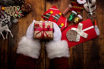Santa's hands, make a wish list for Christmas night