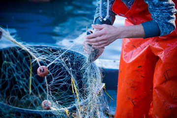 fisherman while cleaning the fishnet from the fish