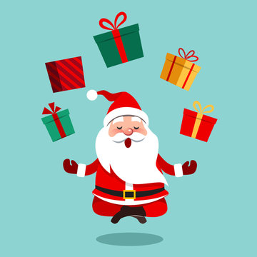 Vector cartoon illustration of funny cute Santa Claus sitting cross-legged in lotus position meditating, floating above ground with colorful gift boxes above him in a circle, contemporary flat style