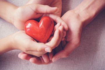 adult and child hands holiding red heart, health care, love, donate, insurance and family concept