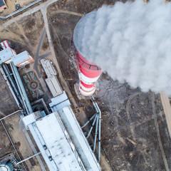 aerial view smokestack