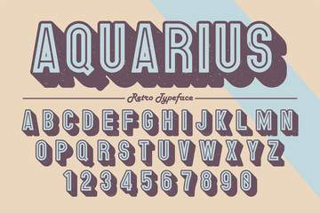 Decorative vector vintage retro typeface, font, typeface.