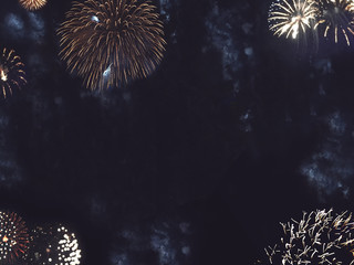 Festive Gold Fireworks Border in Night Sky for New Years and Independence Day Celebrations