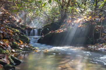 Sunbeams on a waterfall