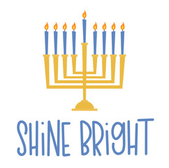 Vector illustration of a menorah and a Hanukkah greeting