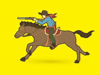 Cowboy riding horse, aiming rifle graphic vector.