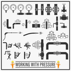 Working with pressure vector icons and symbols design, Set of signs and symbols of high pressure equipments and hazards