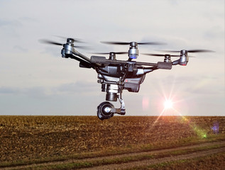 Drone at Sunset  - Drones in Modern Agriculture.