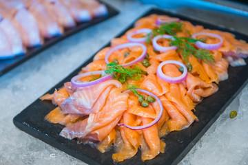 Fresh salmon slice on ice