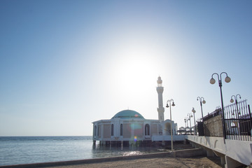 Ar Rahmah Mosque Or Floating Mosque. Constructed On The Coast Of The Red Sea, The Majestic Mosque Appears To Be Floating Due To It Being Built On Pillars.