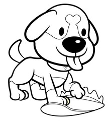 Black And White Dog Character digs in the ground. Vector Illustration Isolated On White Background.