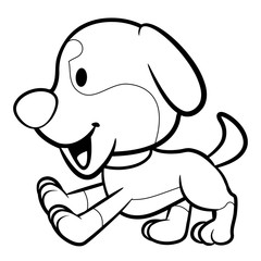 Black And White Puppy Character running. Vector Illustration Isolated On White Background.