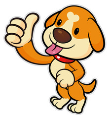 Dog Mascot took a Best gesture. Vector Illustration Isolated On White Background.