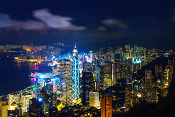 Hong Kong skyline. View from Victoria Peak at night