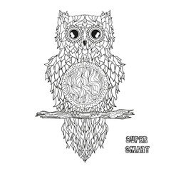 Owl. Mandala. Pretty bird. Detailed hand drawn night owl with abstract patterns on isolation background. Design for spiritual relaxation for adults. Black and white illustration for coloring. Zen art