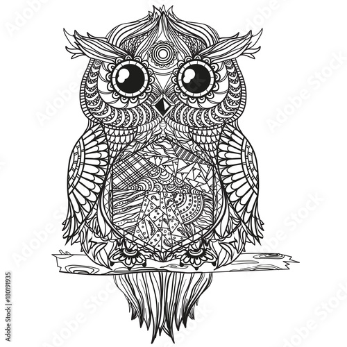 Owl Zen Art Design Zentangle Detailed Hand Drawn Vintage Owl With
