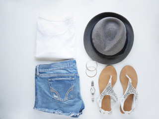 woman fashion flat lay.