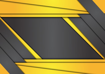 Black and yellow geometric abstract vector background with copy space