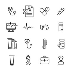 Set of health thin line icons.