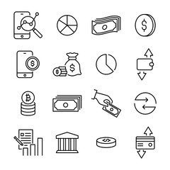 Simple set of finance related outline icons.