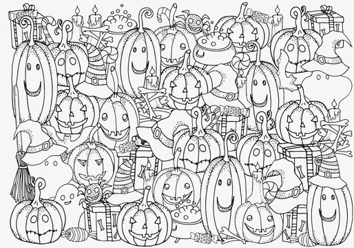 Pattern for coloring book. Set of Halloween symbols pumpkin, broom, bat, spider webs. Hand-drawn decorative elements in vector. Black and white pattern. Zentangle.