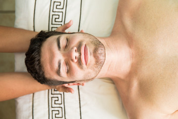 Hispanic man in a health spa