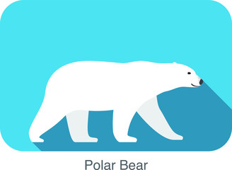 Polar bear walking side flat 3D icon design, vector illustration
