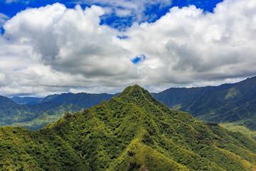 Aerial view of mountain ridge line in Honolulu Hawaii