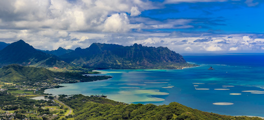 Aerial view of Oahu coastline and mountains in Honolulu Hawaii