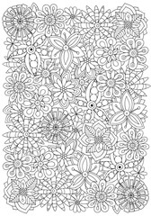 Pattern for adult coloring book. Flowers. A4 size. Ethnic, floral, retro, doodle, vector, tribal design element. Black and white background.