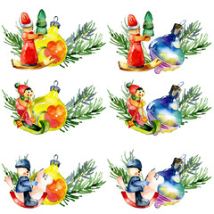 Festive, New Year, Christmas, family toys. Cheerful, old, Christmas decorations. Decorative decoration for Christmas and New Year's tree. Merry, beautiful, happy garland. Watercolor. Illustration
