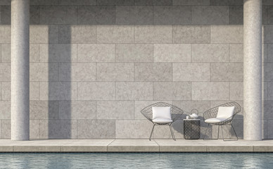 Modern loft style pool terrace 3d rendering image.The room has polished concrete floor and wall ,there is sunlight shining down from above.