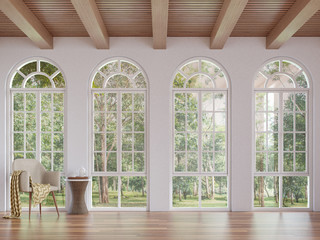 Scandinavian living room 3d rendering image.The Rooms have wooden floors and ceilings with white walls .There are arch shape window overlooking to the nature. Wall mural