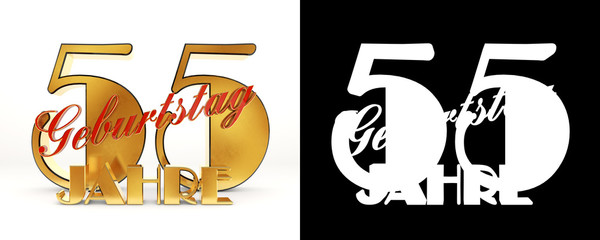 Number fifty five years (55 years) celebration design. Anniversary golden number template elements for your birthday party. Translated from the German - years. 3D illustration