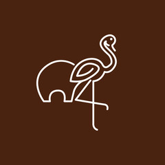 Flamingo and elephant Line Logo Icon