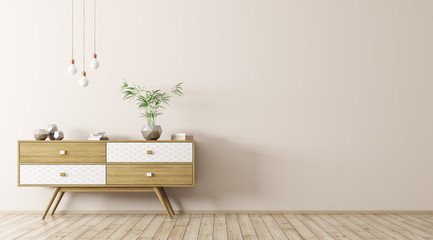 Interior with wooden sideboard 3d rendering