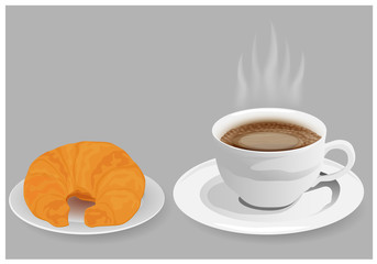 cup of coffee with croissant vector design
