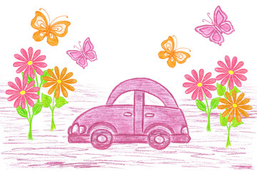 Colorful wallpaper. Purple toy car, flowers and butterflies. Self-drawn colored pencils picture. Decorative illustration mock up